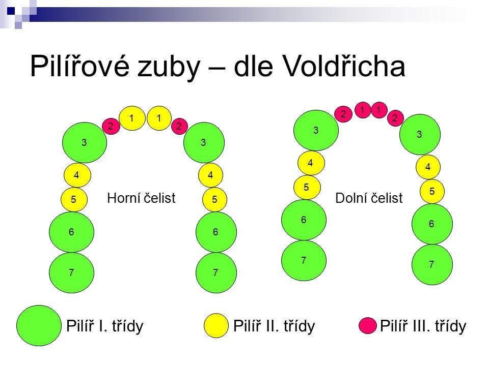 1 5 4 2 3 6 7 1 5 4 2 3 5 4 2 3 6 7 5 4 2 3 6 7 Pilířové zuby – dle Voldřicha 11 Horní čelistDolní čelist 7 6 Pilíř II.