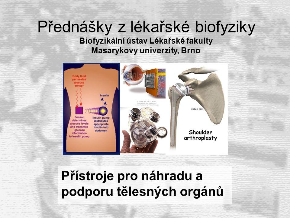 Přístroje pro náhradu a podporu tělesných orgánů Přednášky z lékařské biofyziky Biofyzikální ústav Lékařské fakulty Masarykovy univerzity, Brno