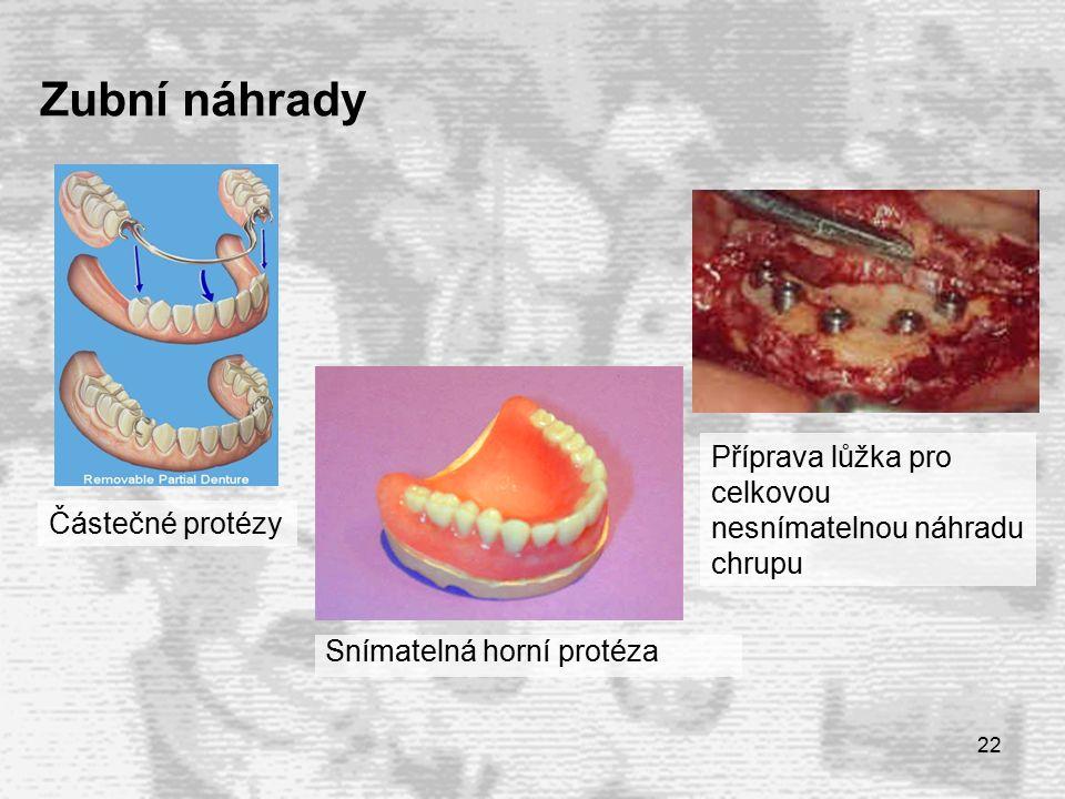 22 Zubní náhrady Snímatelná horní protéza Částečné protézy Příprava lůžka pro celkovou nesnímatelnou náhradu chrupu