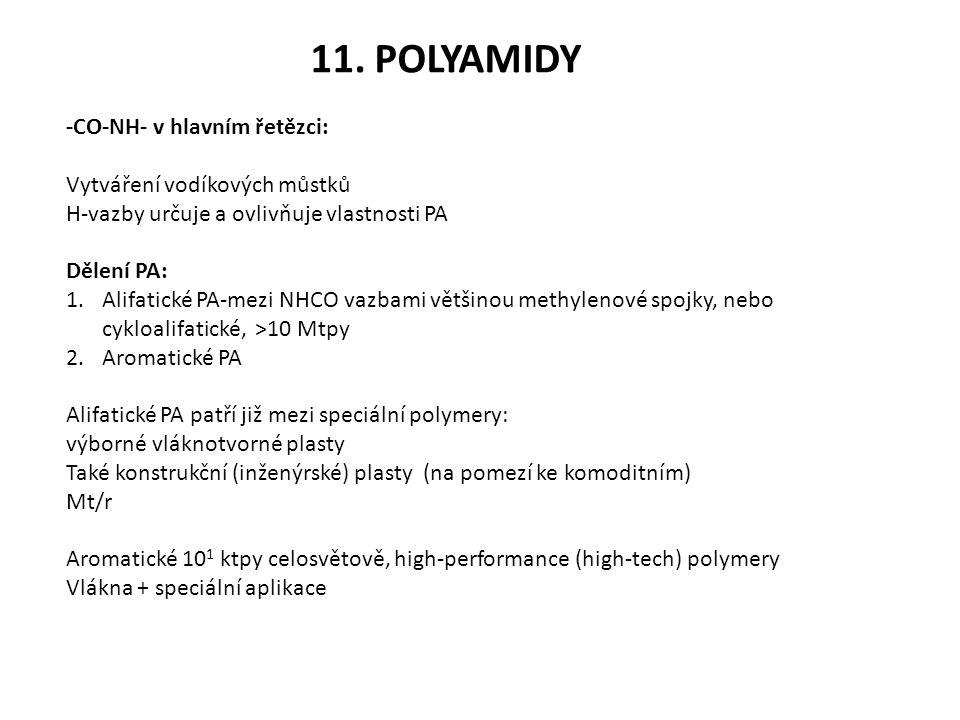 11. POLYAMIDY -CO-NH- v hlavním řetězci: Vytváření vodíkových můstků H-vazby určuje a ovlivňuje vlastnosti PA Dělení PA: 1.Alifatické PA-mezi NHCO vaz