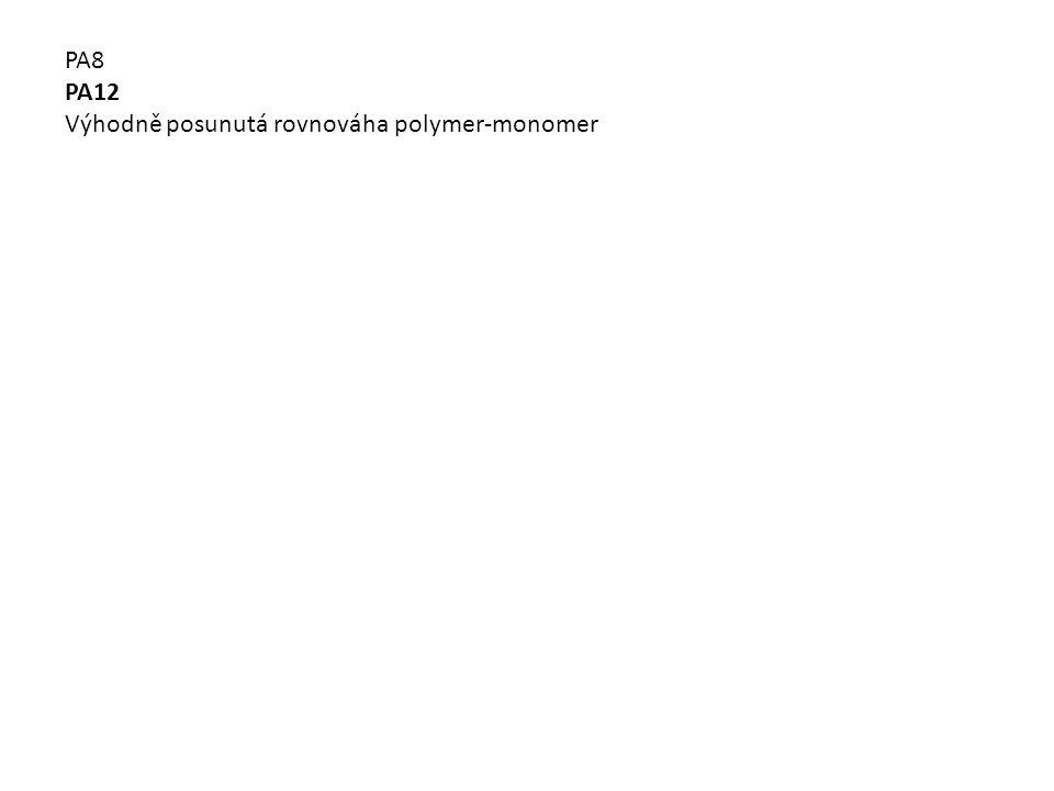 PA8 PA12 Výhodně posunutá rovnováha polymer-monomer