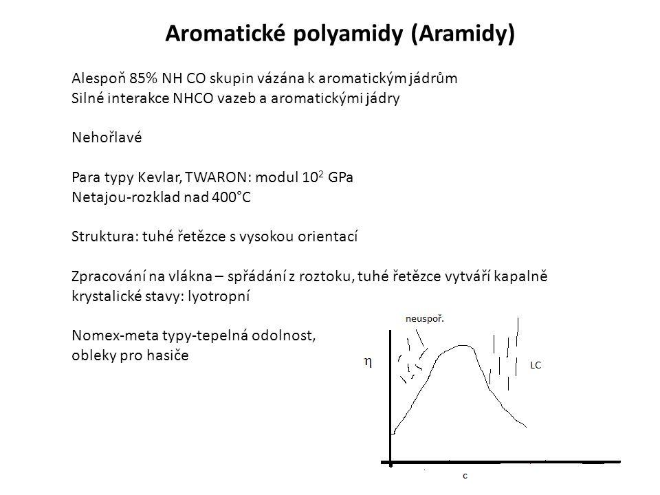 Aromatické polyamidy (Aramidy) Alespoň 85% NH CO skupin vázána k aromatickým jádrům Silné interakce NHCO vazeb a aromatickými jádry Nehořlavé Para typy Kevlar, TWARON: modul 10 2 GPa Netajou-rozklad nad 400°C Struktura: tuhé řetězce s vysokou orientací Zpracování na vlákna – spřádání z roztoku, tuhé řetězce vytváří kapalně krystalické stavy: lyotropní Nomex-meta typy-tepelná odolnost, obleky pro hasiče