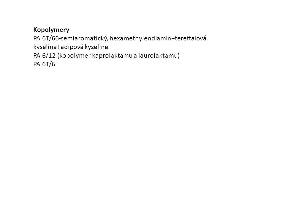 Kopolymery PA 6T/66-semiaromatický, hexamethylendiamin+tereftalová kyselina+adipová kyselina PA 6/12 (kopolymer kaprolaktamu a laurolaktamu) PA 6T/6