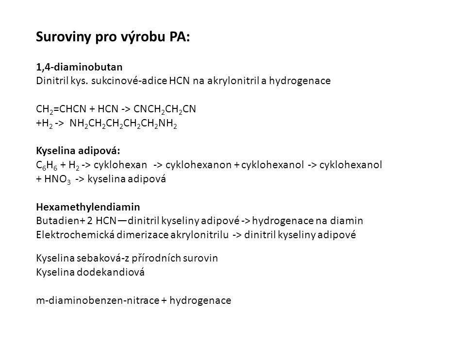 Suroviny pro výrobu PA: 1,4-diaminobutan Dinitril kys.