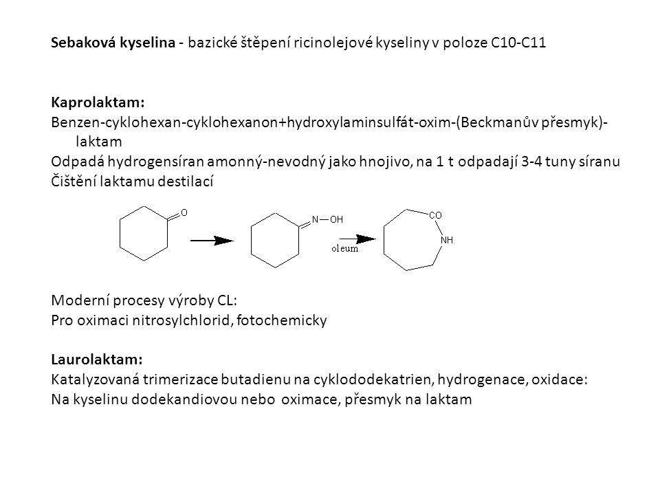 Sebaková kyselina - bazické štěpení ricinolejové kyseliny v poloze C10-C11 Kaprolaktam: Benzen-cyklohexan-cyklohexanon+hydroxylaminsulfát-oxim-(Beckmanův přesmyk)- laktam Odpadá hydrogensíran amonný-nevodný jako hnojivo, na 1 t odpadají 3-4 tuny síranu Čištění laktamu destilací Moderní procesy výroby CL: Pro oximaci nitrosylchlorid, fotochemicky Laurolaktam: Katalyzovaná trimerizace butadienu na cyklododekatrien, hydrogenace, oxidace: Na kyselinu dodekandiovou nebo oximace, přesmyk na laktam