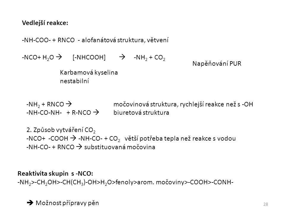 Vedlejší reakce: -NH-COO- + RNCO - alofanátová struktura, větvení -NCO+ H 2 O  [-NHCOOH]  -NH 2 + CO 2 Karbamová kyselina nestabilní Napěňování PUR -NH 2 + RNCO  močovinová struktura, rychlejší reakce než s -OH -NH-CO-NH- + R-NCO  biuretová struktura 2.