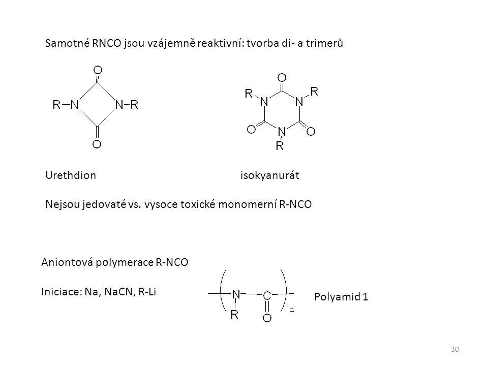 Samotné RNCO jsou vzájemně reaktivní: tvorba di- a trimerů Urethdion isokyanurát Nejsou jedovaté vs.