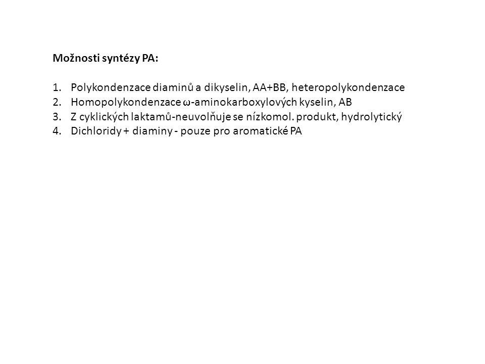 Možnosti syntézy PA: 1.Polykondenzace diaminů a dikyselin, AA+BB, heteropolykondenzace 2.Homopolykondenzace  -aminokarboxylových kyselin, AB 3.Z cyklických laktamů-neuvolňuje se nízkomol.
