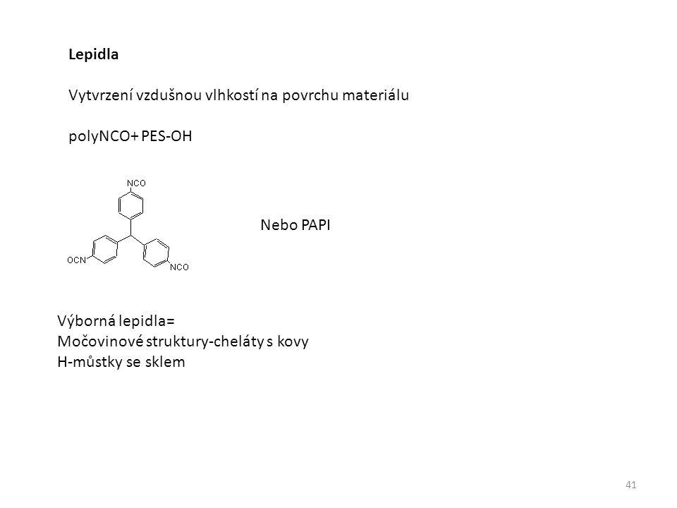 Lepidla Vytvrzení vzdušnou vlhkostí na povrchu materiálu polyNCO+ PES-OH Nebo PAPI Výborná lepidla= Močovinové struktury-cheláty s kovy H-můstky se sklem 41