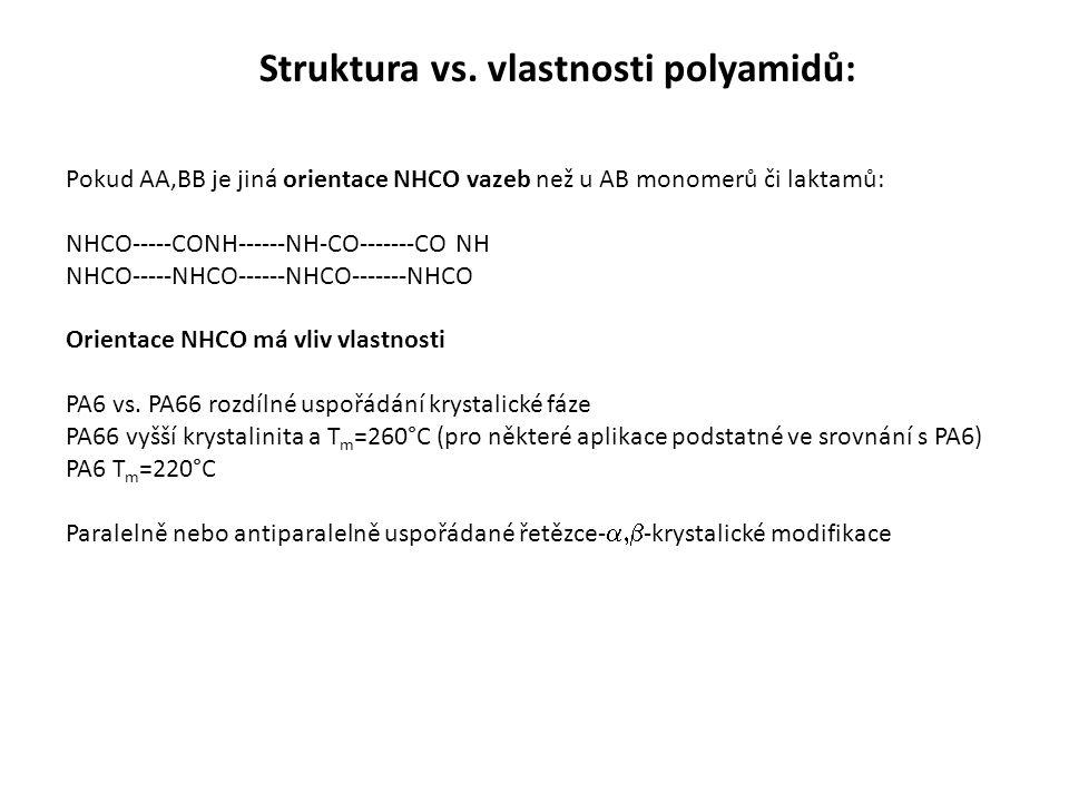Pokud AA,BB je jiná orientace NHCO vazeb než u AB monomerů či laktamů: NHCO-----CONH------NH-CO-------CO NH NHCO-----NHCO------NHCO-------NHCO Orientace NHCO má vliv vlastnosti PA6 vs.
