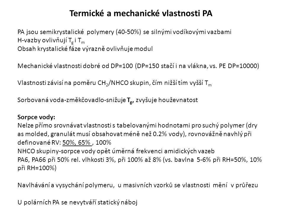 Termické a mechanické vlastnosti PA PA jsou semikrystalické polymery (40-50%) se silnými vodíkovými vazbami H-vazby ovlivňují T g i T m Obsah krystalické fáze výrazně ovlivňuje modul Mechanické vlastnosti dobré od DP=100 (DP=150 stačí i na vlákna, vs.