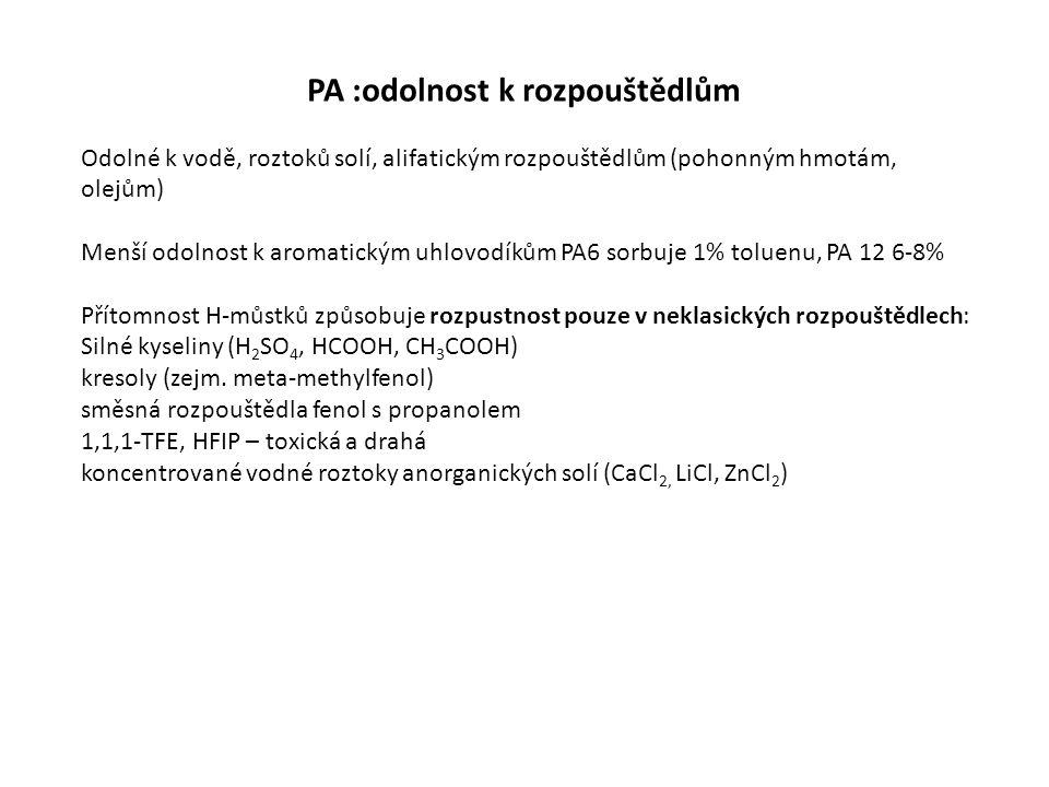PA :odolnost k rozpouštědlům Odolné k vodě, roztoků solí, alifatickým rozpouštědlům (pohonným hmotám, olejům) Menší odolnost k aromatickým uhlovodíkům PA6 sorbuje 1% toluenu, PA 12 6-8% Přítomnost H-můstků způsobuje rozpustnost pouze v neklasických rozpouštědlech: Silné kyseliny (H 2 SO 4, HCOOH, CH 3 COOH) kresoly (zejm.