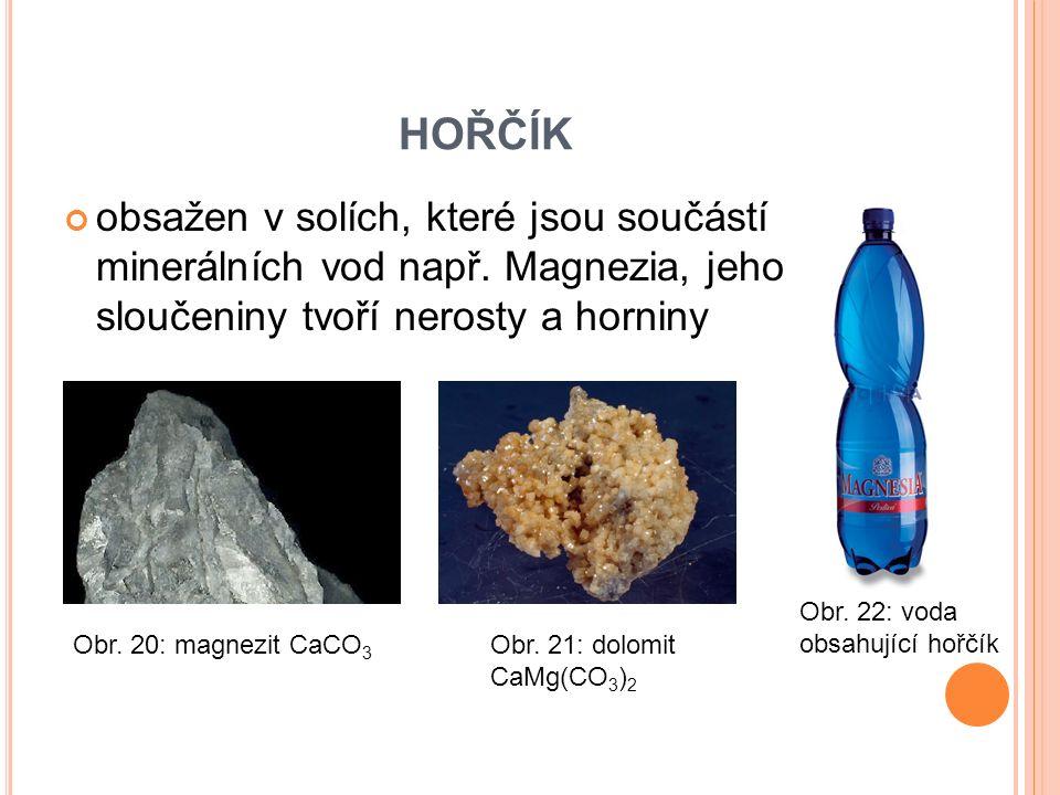 HOŘČÍK obsažen v solích, které jsou součástí minerálních vod např.