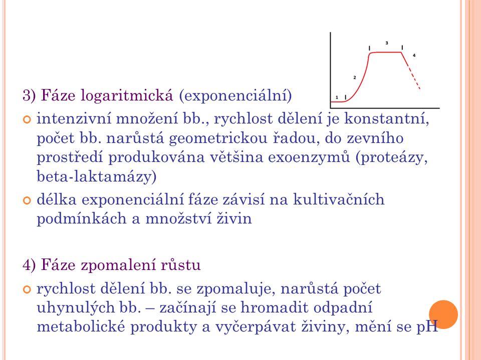 3) Fáze logaritmická (exponenciální) intenzivní množení bb., rychlost dělení je konstantní, počet bb. narůstá geometrickou řadou, do zevního prostředí
