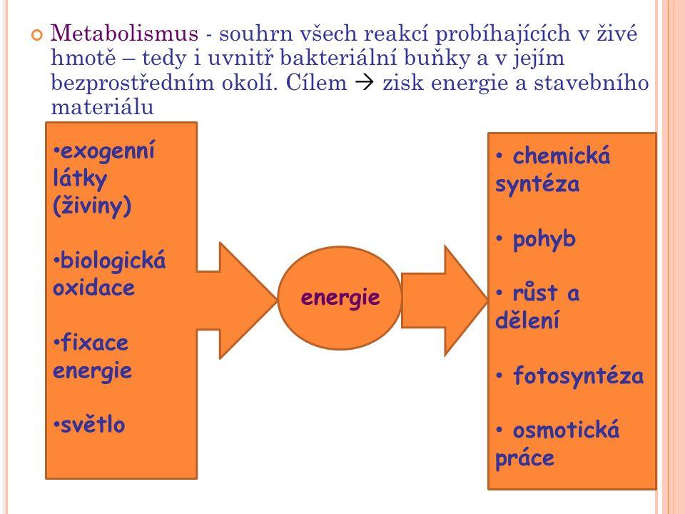 Metabolismus - souhrn všech reakcí probíhajících v živé hmotě – tedy i uvnitř bakteriální buňky a v jejím bezprostředním okolí. Cílem  zisk energie a