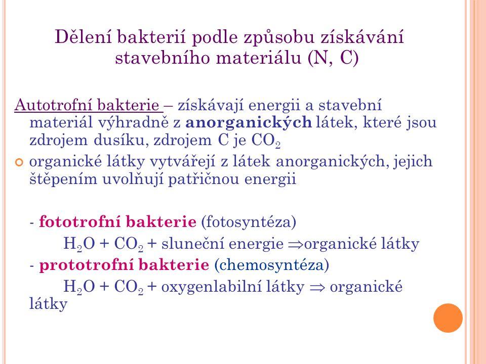 Dělení bakterií podle způsobu získávání stavebního materiálu (N, C) Autotrofní bakterie – získávají energii a stavební materiál výhradně z anorganických látek, které jsou zdrojem dusíku, zdrojem C je CO 2 organické látky vytvářejí z látek anorganických, jejich štěpením uvolňují patřičnou energii - fototrofní bakterie (fotosyntéza) H 2 O + CO 2 + sluneční energie  organické látky - prototrofní bakterie (chemosyntéza) H 2 O + CO 2 + oxygenlabilní látky  organické látky