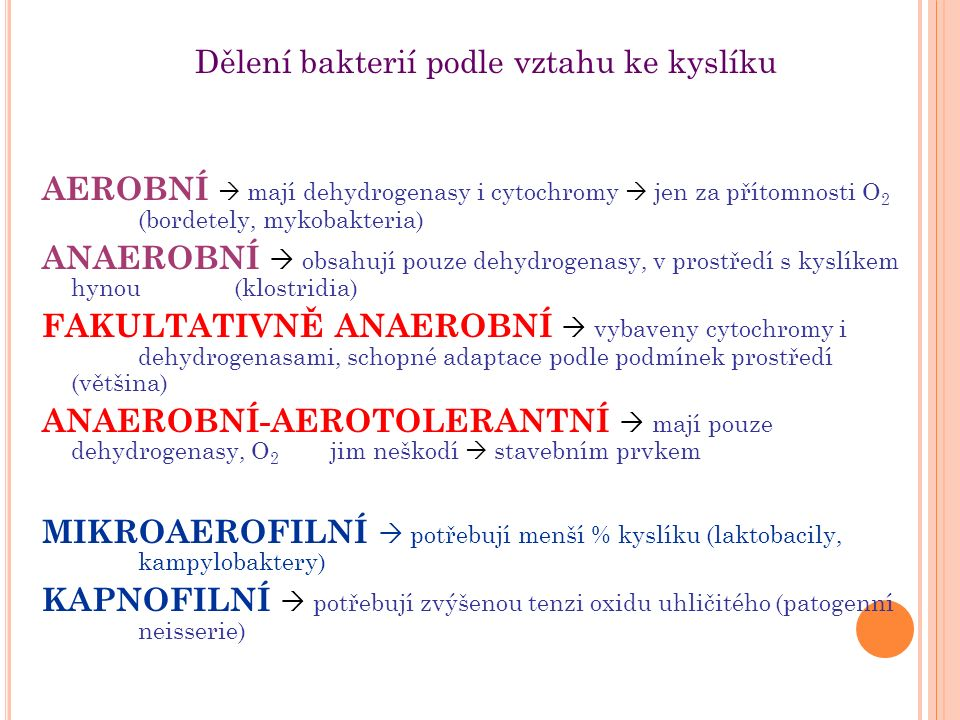 Dělení bakterií podle vztahu ke kyslíku AEROBNÍ  mají dehydrogenasy i cytochromy  jen za přítomnosti O 2 (bordetely, mykobakteria) ANAEROBNÍ  obsahují pouze dehydrogenasy, v prostředí s kyslíkem hynou (klostridia) FAKULTATIVNĚ ANAEROBNÍ  vybaveny cytochromy i dehydrogenasami, schopné adaptace podle podmínek prostředí (většina) ANAEROBNÍ-AEROTOLERANTNÍ  mají pouze dehydrogenasy, O 2 jim neškodí  stavebním prvkem MIKROAEROFILNÍ  potřebují menší % kyslíku (laktobacily, kampylobaktery) KAPNOFILNÍ  potřebují zvýšenou tenzi oxidu uhličitého (patogenní neisserie)