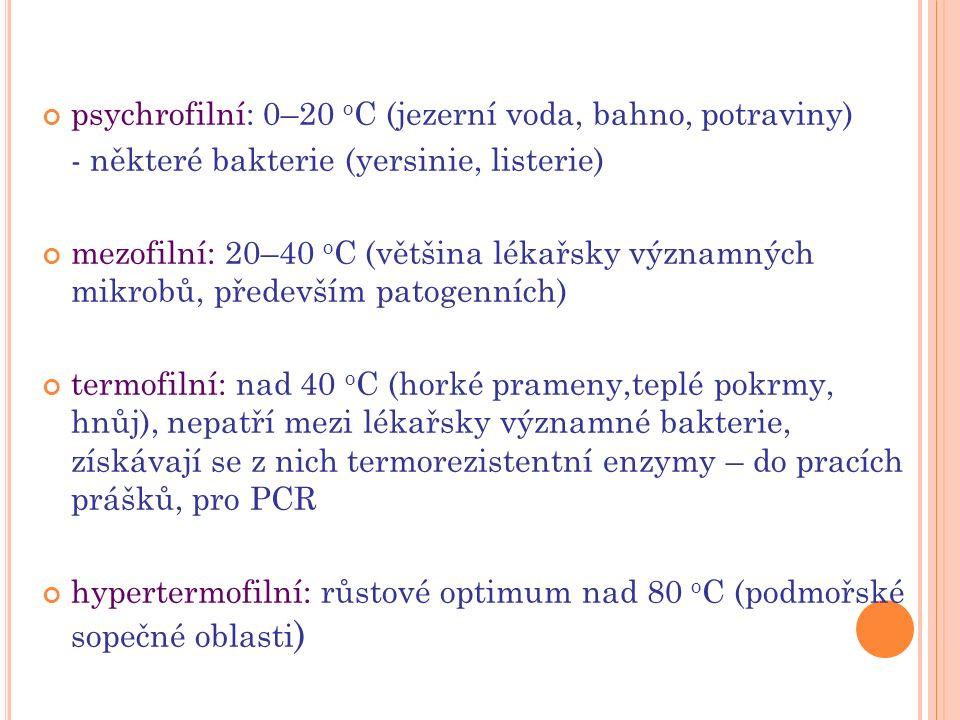 3) pH 7,2–7,4 (většina lékařsky významných bakterií) 5–6 (laktobacily, kvasinky) 8,5 (vibria, enterokoky) 4) dostatek živin a růstových faktorů (vitamíny, soli, stopové prvky) autotrofy – syntéza z anorganických zdrojů, CO 2, H 2 O heterotrofy – organický substrát nutno dodávat 5) plynné prostředí - aerobní - anaerobní - fakultativně anaerobní - anaerobní aerotolerantní - mikroaerofilní - kapnofilní
