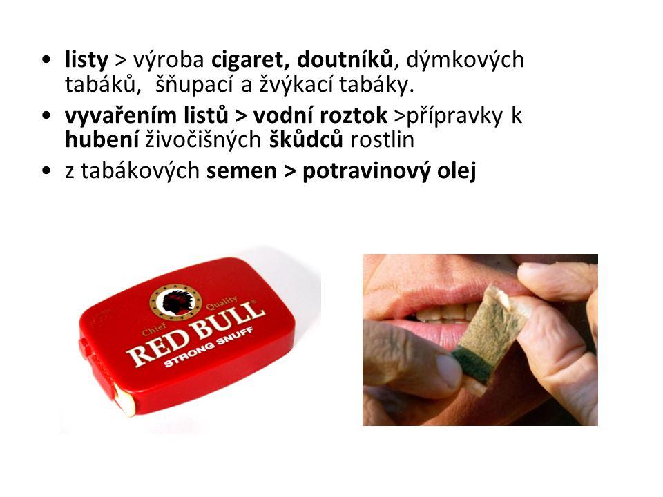 listy > výroba cigaret, doutníků, dýmkových tabáků, šňupací a žvýkací tabáky.