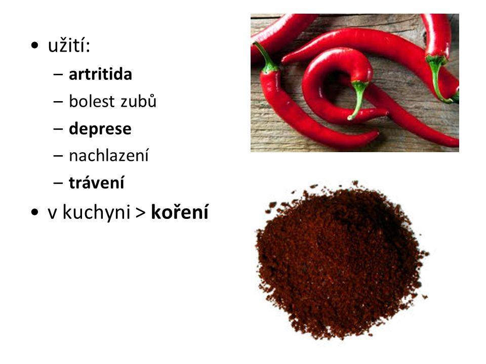 užití: –artritida –bolest zubů –deprese –nachlazení –trávení v kuchyni > koření