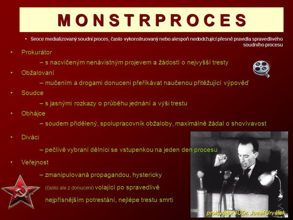 Prokurátor – s nacvičeným nenávistným projevem a žádostí o nejvyšší tresty Obžalovaní – mučením a drogami donuceni přeříkávat naučenou přitěžující výp