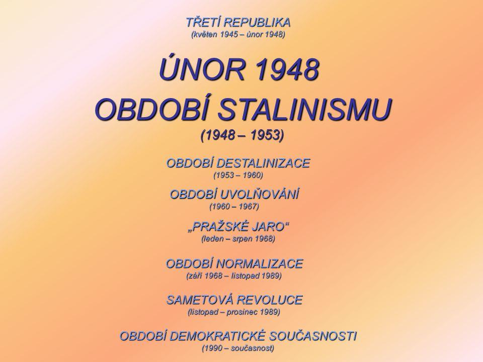 """TŘETÍ REPUBLIKA (květen 1945 – únor 1948) OBDOBÍ DESTALINIZACE (1953 – 1960) OBDOBÍ UVOLŇOVÁNÍ (1960 – 1967) """"PRAŽSKÉ JARO"""" (leden – srpen 1968) OBDOB"""