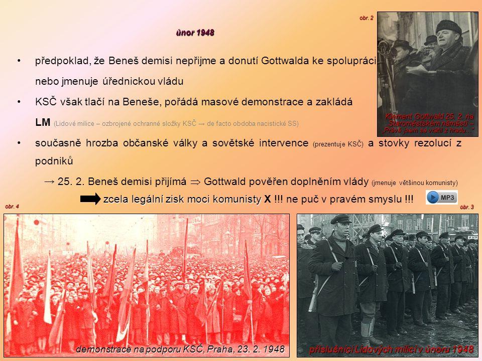 únor 1948 předpoklad, že Beneš demisi nepřijme a donutí Gottwalda ke spolupráci nebo jmenuje úřednickou vládu KSČ však tlačí na Beneše, pořádá masové