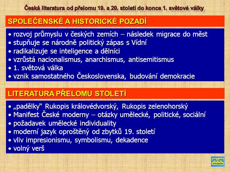 SPOLEČENSKÉ A HISTORICKÉ POZADÍ rozvoj průmyslu v českých zemích – následek migrace do měst stupňuje se národně politický zápas s Vídní radikalizuje se inteligence a dělníci vzrůstá nacionalismus, anarchismus, antisemitismus 1.