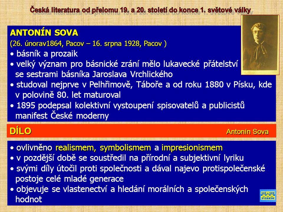 ANTONÍN SOVA (26. únorav1864, Pacov – 16. srpna 1928, Pacov (26.