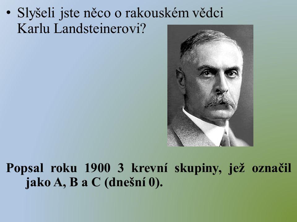 Slyšeli jste něco o rakouském vědci Karlu Landsteinerovi.