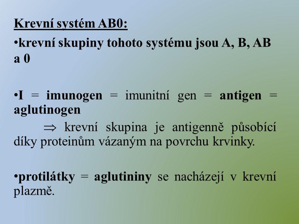 Krevní systém AB0: krevní skupiny tohoto systému jsou A, B, AB a 0 I = imunogen = imunitní gen = antigen = aglutinogen  krevní skupina je antigenně působící díky proteinům vázaným na povrchu krvinky.