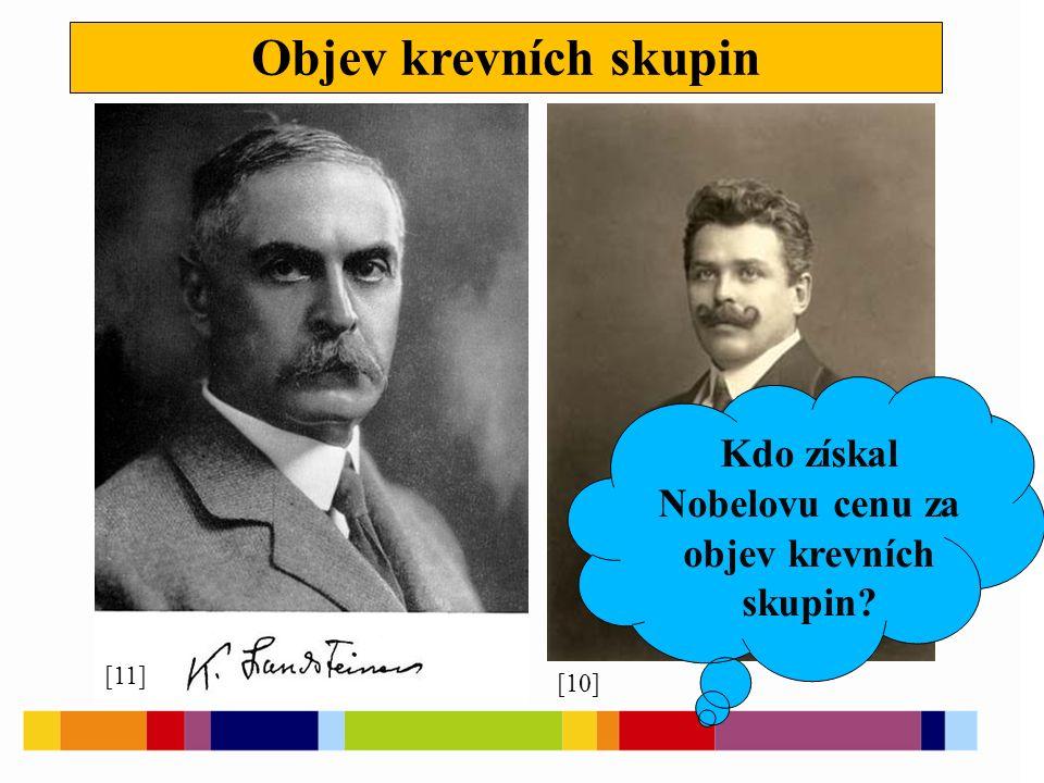Objev krevních skupin [10] [11] Kdo získal Nobelovu cenu za objev krevních skupin?