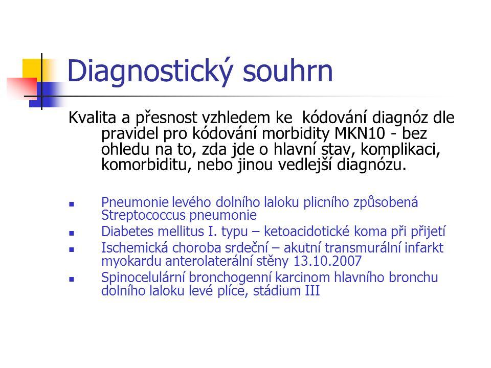 Diagnostický souhrn Kvalita a přesnost vzhledem ke kódování diagnóz dle pravidel pro kódování morbidity MKN10 - bez ohledu na to, zda jde o hlavní stav, komplikaci, komorbiditu, nebo jinou vedlejší diagnózu.