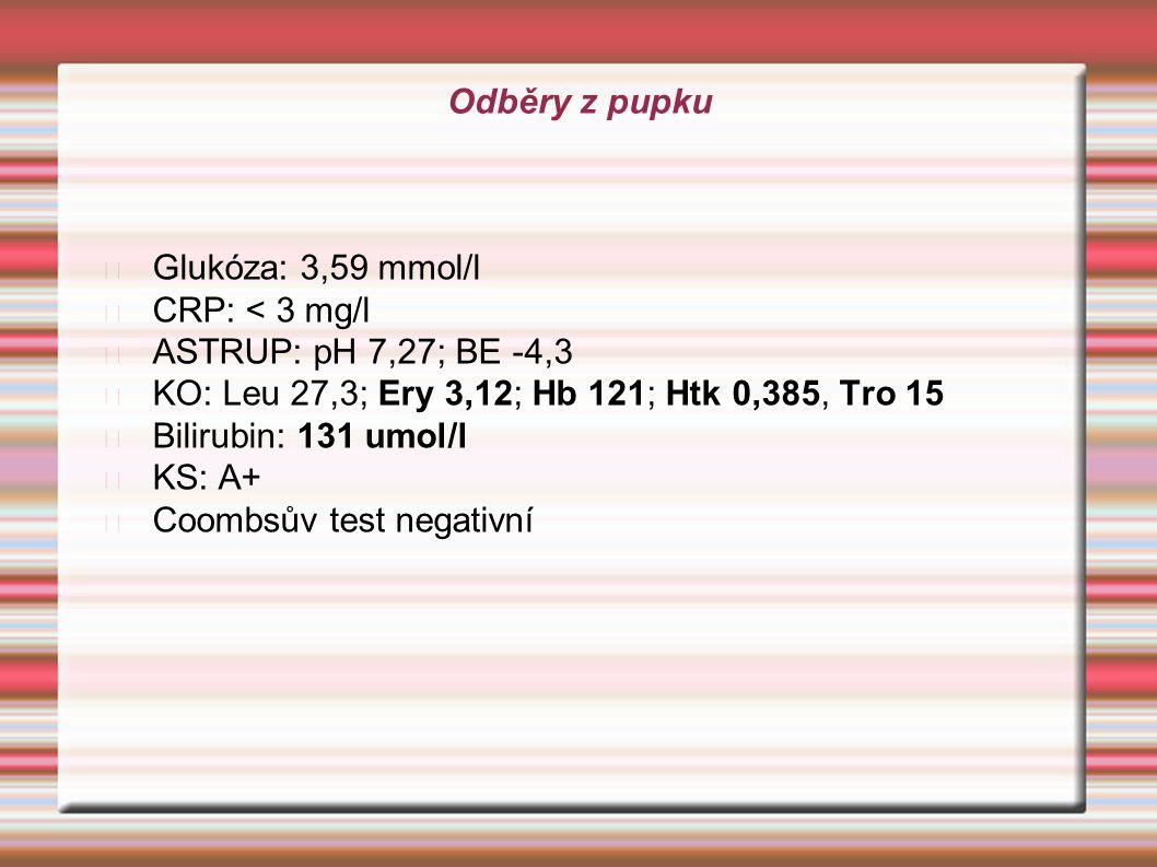 Odběry z pupku Glukóza: 3,59 mmol/l CRP: < 3 mg/l ASTRUP: pH 7,27; BE -4,3 KO: Leu 27,3; Ery 3,12; Hb 121; Htk 0,385, Tro 15 Bilirubin: 131 umol/l KS: