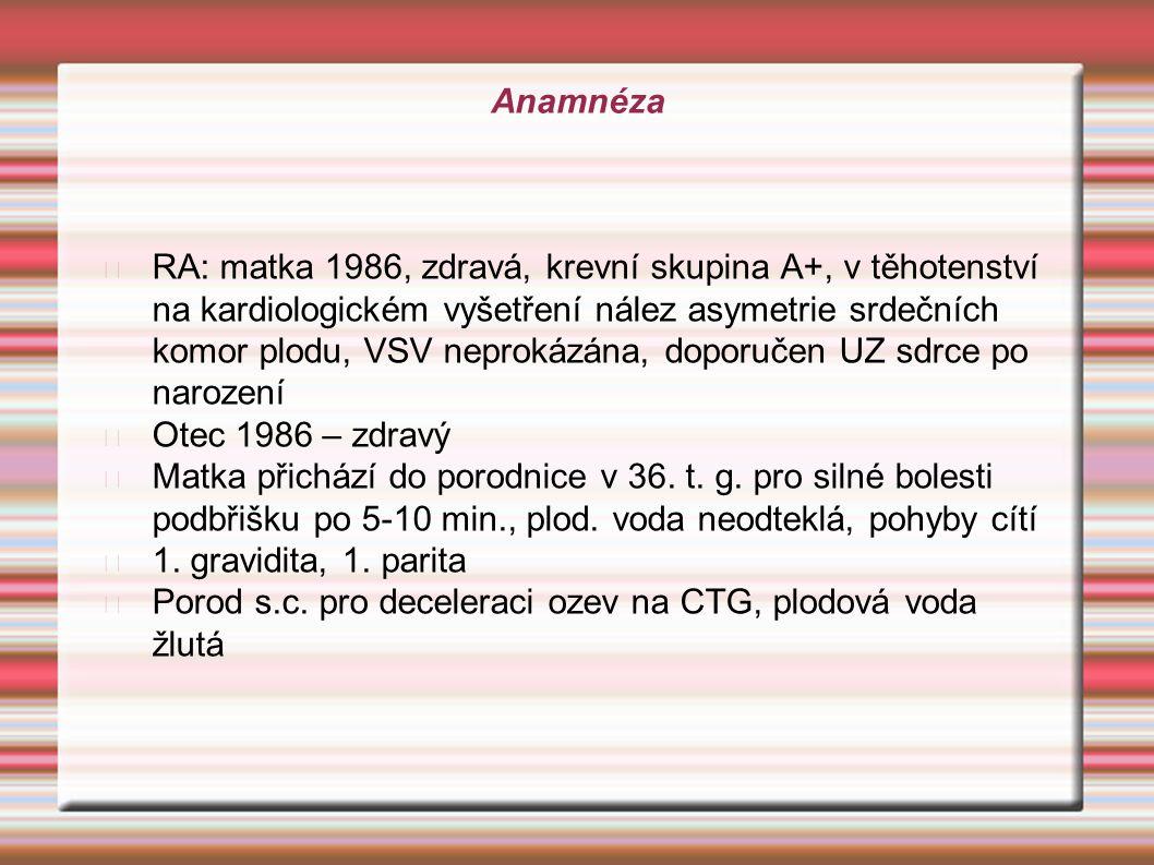Anamnéza RA: matka 1986, zdravá, krevní skupina A+, v těhotenství na kardiologickém vyšetření nález asymetrie srdečních komor plodu, VSV neprokázána,