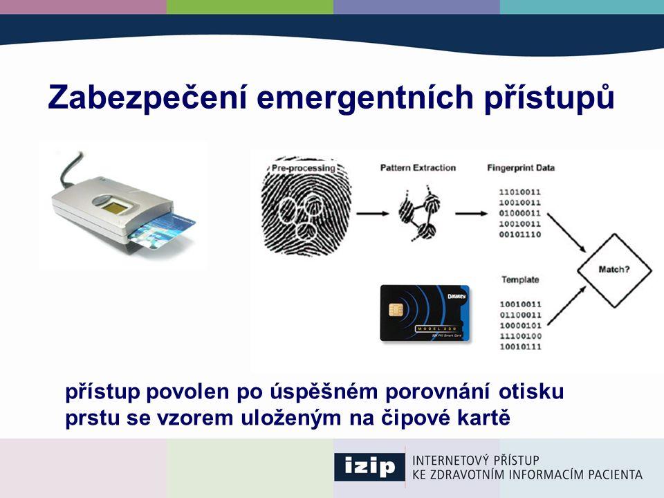 Zabezpečení emergentních přístupů přístup povolen po úspěšném porovnání otisku prstu se vzorem uloženým na čipové kartě