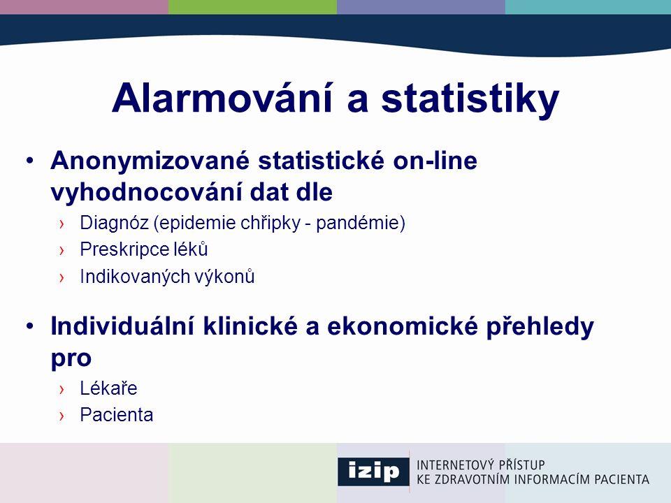 Alarmování a statistiky Anonymizované statistické on-line vyhodnocování dat dle ›Diagnóz (epidemie chřipky - pandémie) ›Preskripce léků ›Indikovaných výkonů Individuální klinické a ekonomické přehledy pro ›Lékaře ›Pacienta