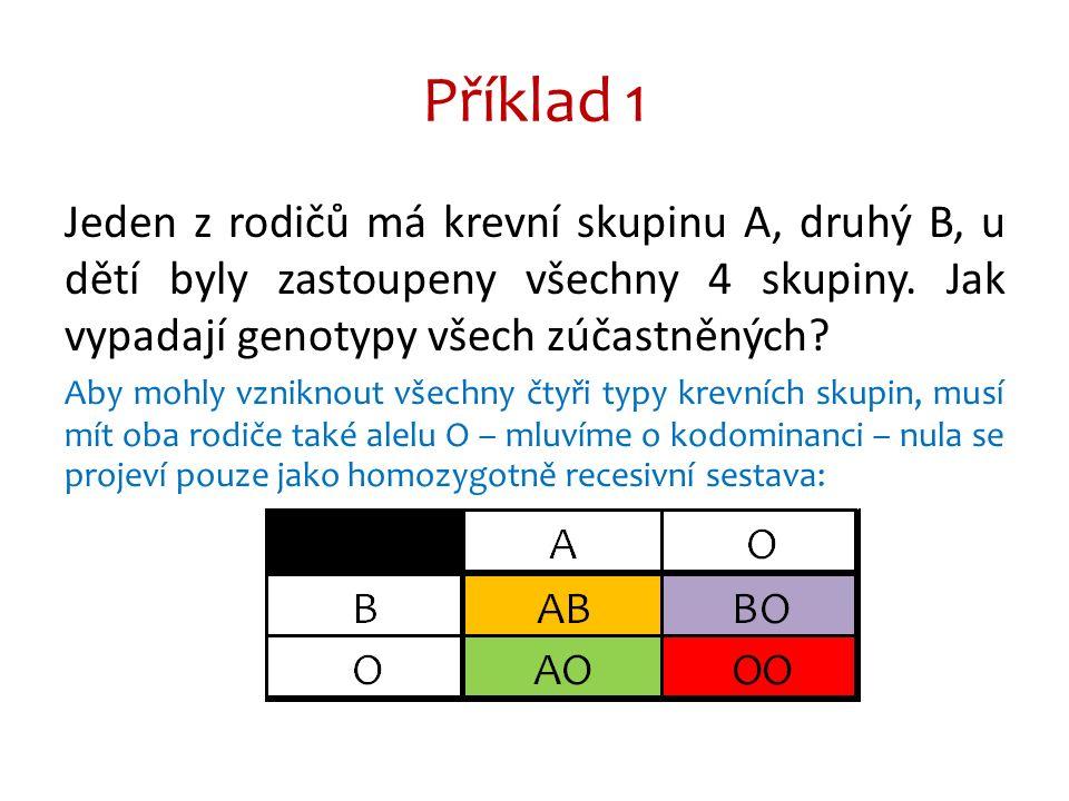 Příklad 1 Jeden z rodičů má krevní skupinu A, druhý B, u dětí byly zastoupeny všechny 4 skupiny.