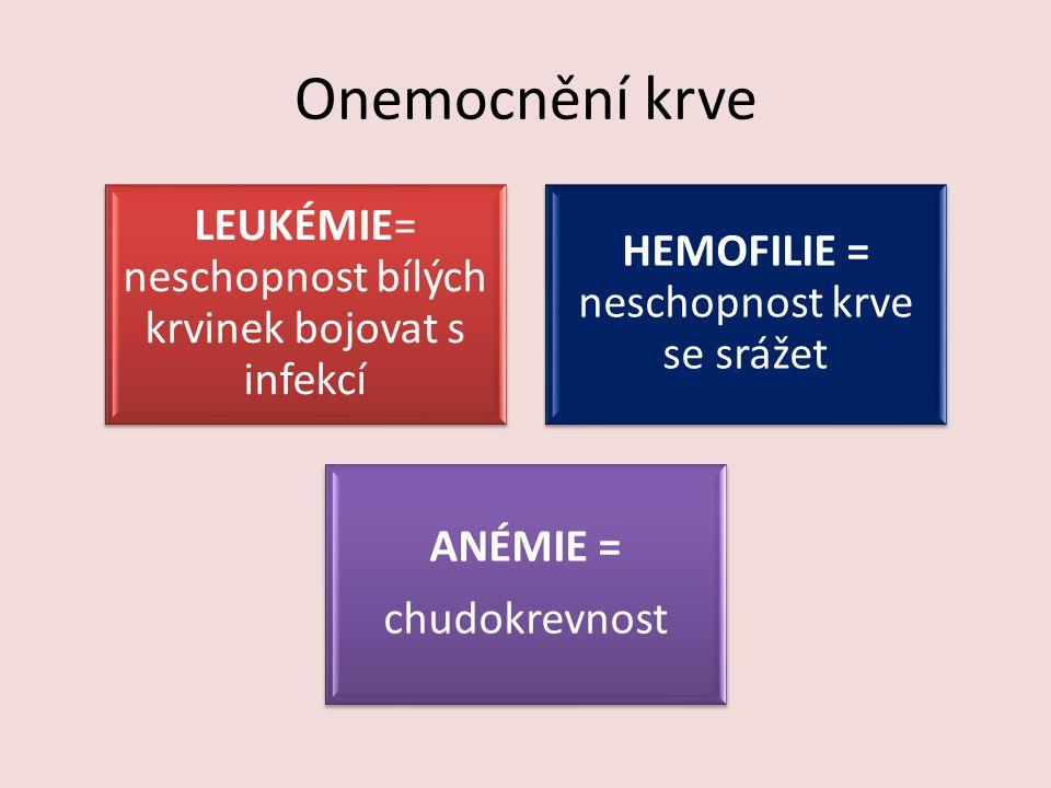 Onemocnění krve LEUKÉMIE= neschopnost bílých krvinek bojovat s infekcí HEMOFILIE = neschopnost krve se srážet ANÉMIE = chudokrevnost