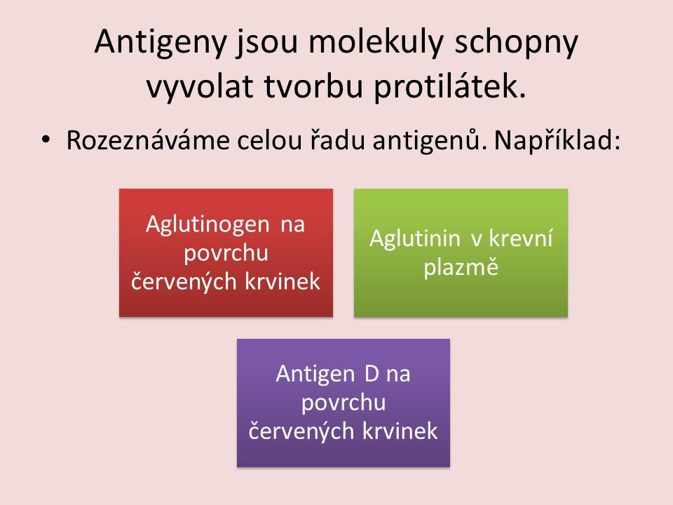 Antigeny jsou molekuly schopny vyvolat tvorbu protilátek.