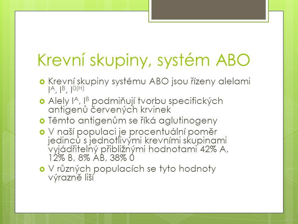 Krevní skupiny, systém ABO  Krevní skupiny systému ABO jsou řízeny alelami I A, I B, I 0(H)  Alely I A, I B podmiňují tvorbu specifických antigenů č