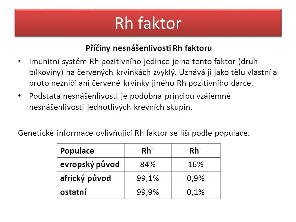 Rh faktor Příčiny nesnášenlivosti Rh faktoru Imunitní systém Rh pozitivního jedince je na tento faktor (druh bílkoviny) na červených krvinkách zvyklý.