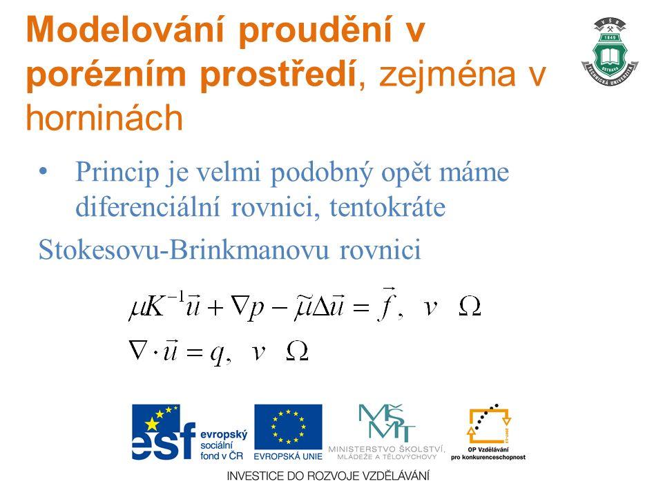 Modelování proudění v porézním prostředí, zejména v horninách Princip je velmi podobný opět máme diferenciální rovnici, tentokráte Stokesovu-Brinkmanovu rovnici