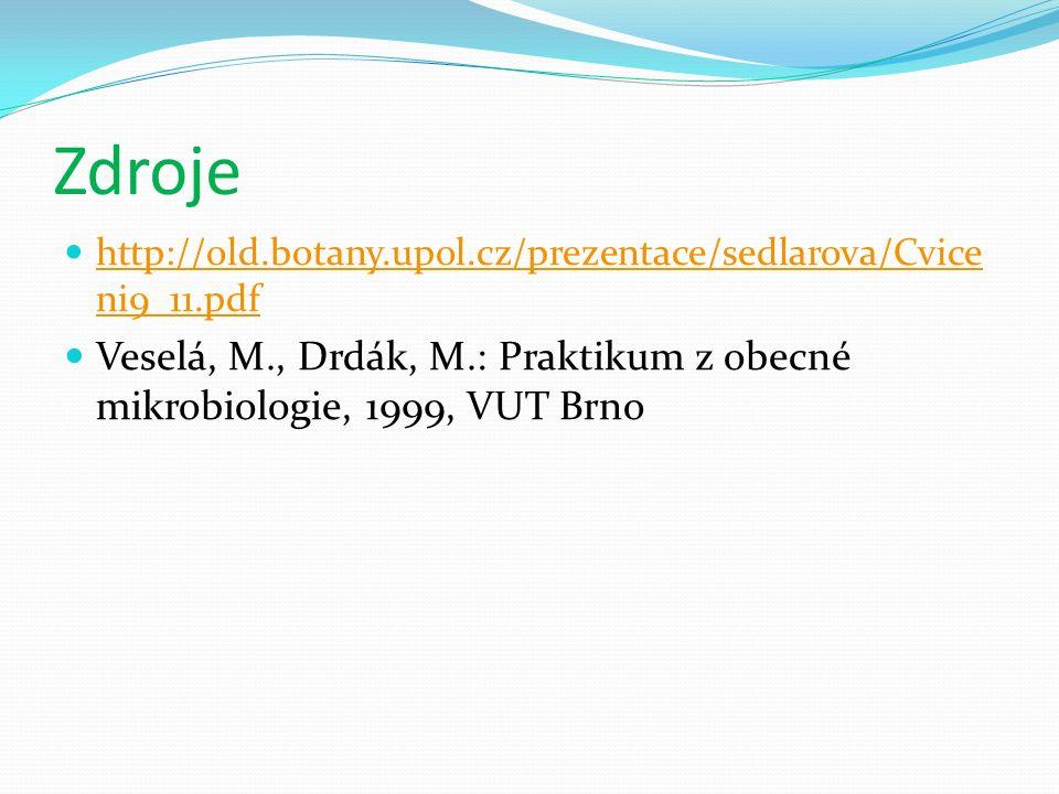 Zdroje http://old.botany.upol.cz/prezentace/sedlarova/Cvice ni9_11.pdf http://old.botany.upol.cz/prezentace/sedlarova/Cvice ni9_11.pdf Veselá, M., Drdák, M.: Praktikum z obecné mikrobiologie, 1999, VUT Brno
