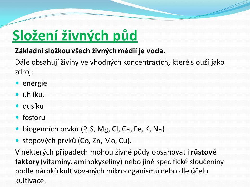 Některé běžně užívané půdy Lővenstein- Jensenova půda- žlutě zelený šikmý agar, slouží k diagnostice TBC( kolonie jsou podobné květáku) Je to vaječná půda, růst je pomalý 3- 9 týdnů.