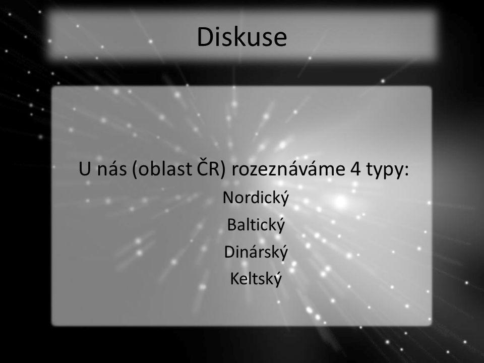 Diskuse U nás (oblast ČR) rozeznáváme 4 typy: Nordický Baltický Dinárský Keltský