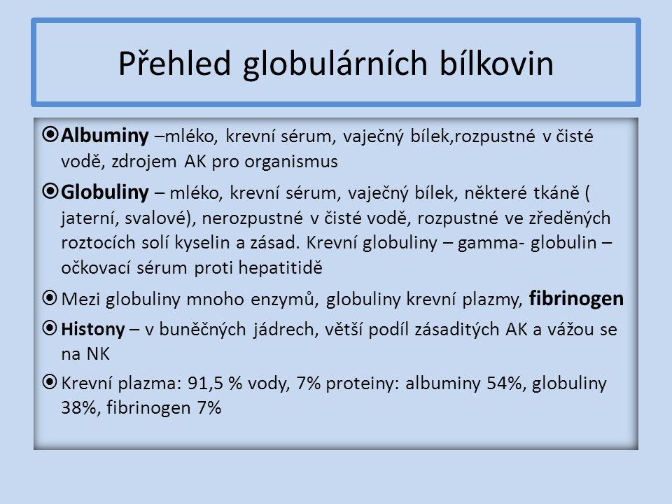 Přehled globulárních bílkovin  Albuminy –mléko, krevní sérum, vaječný bílek,rozpustné v čisté vodě, zdrojem AK pro organismus  Globuliny – mléko, krevní sérum, vaječný bílek, některé tkáně ( jaterní, svalové), nerozpustné v čisté vodě, rozpustné ve zředěných roztocích solí kyselin a zásad.