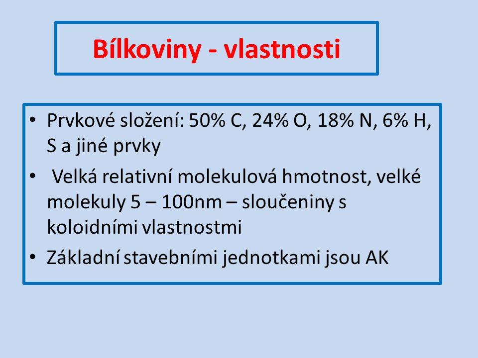 Bílkoviny - vlastnosti Prvkové složení: 50% C, 24% O, 18% N, 6% H, S a jiné prvky Velká relativní molekulová hmotnost, velké molekuly 5 – 100nm – sloučeniny s koloidními vlastnostmi Základní stavebními jednotkami jsou AK