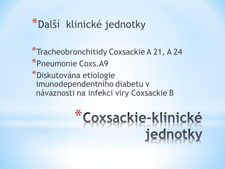 * Další klinické jednotky * Tracheobronchitidy Coxsackie A 21, A 24 * Pneumonie Coxs.A9 * Diskutována etiologie imunodependentního diabetu v návaznost