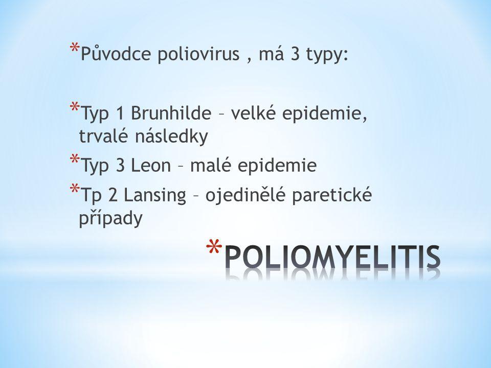 * Původce poliovirus, má 3 typy: * Typ 1 Brunhilde – velké epidemie, trvalé následky * Typ 3 Leon – malé epidemie * Tp 2 Lansing – ojedinělé paretické